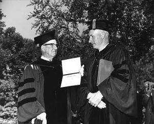 Mr. Ira C. Darling and UMaine president Dr. Lloyd Elliott, 1965